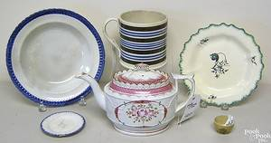 Misc group of tableware to include pearlware teapot