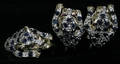 040078 14 KT GOLD EARRINGS AND RING SAPPHIRE 3 PCS