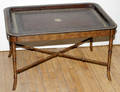 081154 LEATHER TRAY TOP MAHOGANY COCKTAIL TABLE