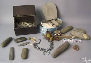 Native American accessories to include squash blossom necklace