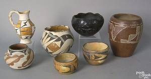 Seven Native American pottery vessels