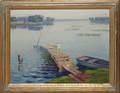 040109 A JONKER OIL ON CANVAS LAKE SCENE W BOATS
