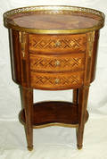 070069 FRENCH MARQUETRY MAHOGANY  MARBLE COMMODE