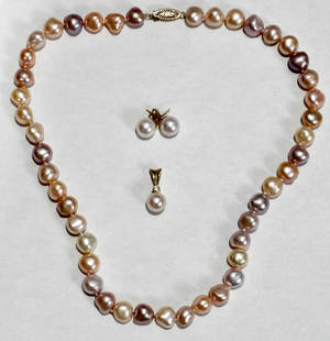 061208 SOUTH SEA PEARL NECKLACEEARRINGS  PENDANT