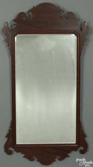Large Chippendale mahogany looking glass ca 1790