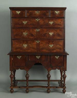 English William and Mary burl veneer highboy early 18th c