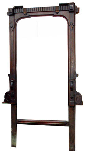 030101 AMERICAN EMPIRE MAHOGANY WALL MIRROR C1900