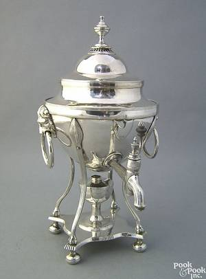 Sheffield silver plated hot water kettle early 19th c
