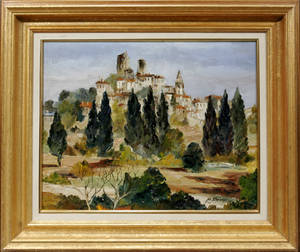 062127 OIL ON CANVAS LANDSCAPE GRIMAUD  VAI