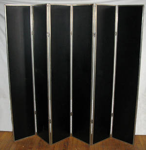 042180 ART DECO METAL FRAME 8 PANEL MIRRORED SCREEN