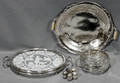040203 STERLING  SILVER PLATE TRIVET RELISH TRAY