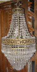032112 CRYSTAL TIERED CHANDELIER CIRCA 1925