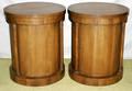 072197 BAKER WALNUT ROUND SINGLE DOOR LAMP TABLES