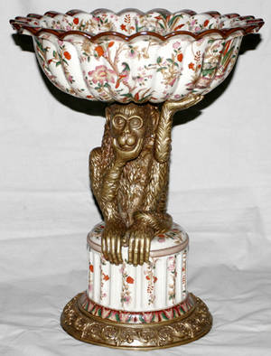 072171 BRONZEMOUNTED PORCELAIN FIGURAL COMPOTE