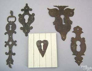 Five wrought iron escutcheons 18th c
