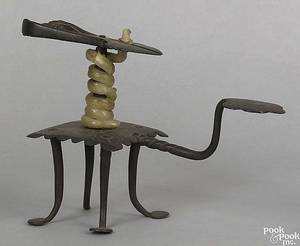 English wrought iron wax jack 18th c