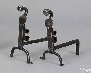 Pair of miniature wrought iron andirons 19th c