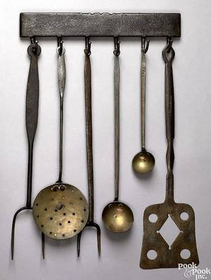 American wrought iron utensil rack with 6 utensils 19th c