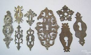 Six Pennsylvania wrought iron escutcheons 18th19th c