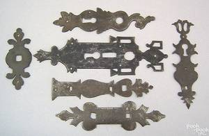 Six wrought iron escutcheons 18th19th c