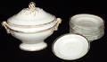042226 FRENCH PORCELAIN TUREEN  FIRED GOLD RIM BOWLS