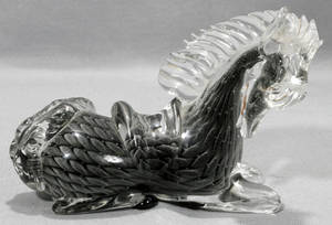 030164 MURANO GLASS HORSE SCULPTURE H 5 12 L 7