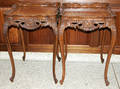 072208 CARVED WALNUT SQUARE END TABLES