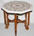 072207 ALABASTER  MARQUETRY INLAID OCTAGONAL TABLE