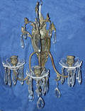 052179 FRENCH STYLE 3ARM BRONZE  CRYSTAL SCONCES