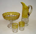 042254 AMBERINA TO CLEAR GLASS PITCHER BOWL  TUMBLER