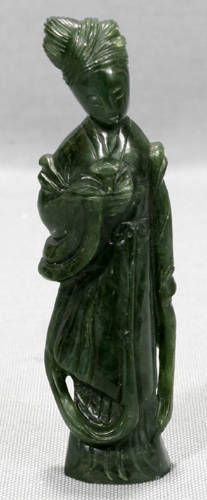 041299 CHINESE SPINACH JADE FIGURE OF QUAN YIN