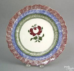Red blue and green rainbow spatter scalloped edge plate
