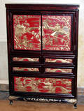 032194 CHINESE CARVED CABINET W RED LACQUER DOORS