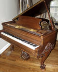 032163 ESTEY CHIPPENDALE STYLE MAHOGANY PLAYER PIANO