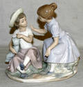 031361 NAO PORCELAIN FIGURE OF TWO GIRLS H 7 12 W