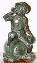 031337 BRONZE SCULPTURE TYROLEAN BOY ATOP A BARREL