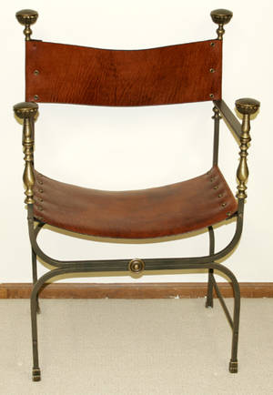 081332 LEATHER BRASS  IRON SAVANAROLA CHAIR
