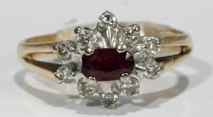 051333 GOLD DIAMOND  RUBY RING