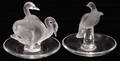 042304 LALIQUE FRANCE CARVED GLASS RING HOLDERS