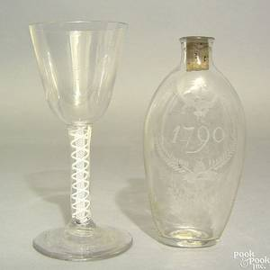 Clear blown glass Steigel type flask