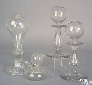 Clear pressed and blown glass oil lamp early 19th c
