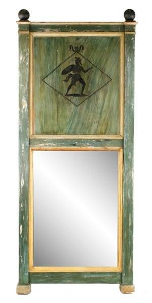 French Painted Neoclassical Style Trumeau Mirror