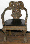 072308 CHINESE GILT  LACQUER CHAIR W DRAGON ARMS