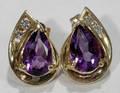 051359 GOLD AMETHYST  DIAMOND EARRINGS