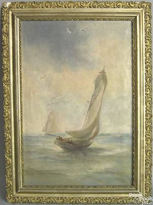 Oil on canvas sailing ship painting