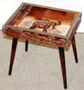 040351 S AFRICAN COPPER PLAQUE TEA TABLE W CARVINGS