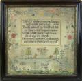English silk on linen sampler dated 1793
