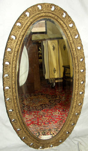 040384 VICTORIAN HAND CARVED GILT WOOD OVAL MIRROR