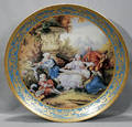 032298 FRENCH PORCELAIN ROUND PLAQUE FIRED GOLD