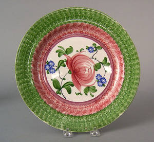 Red and green spatter plate 19th c